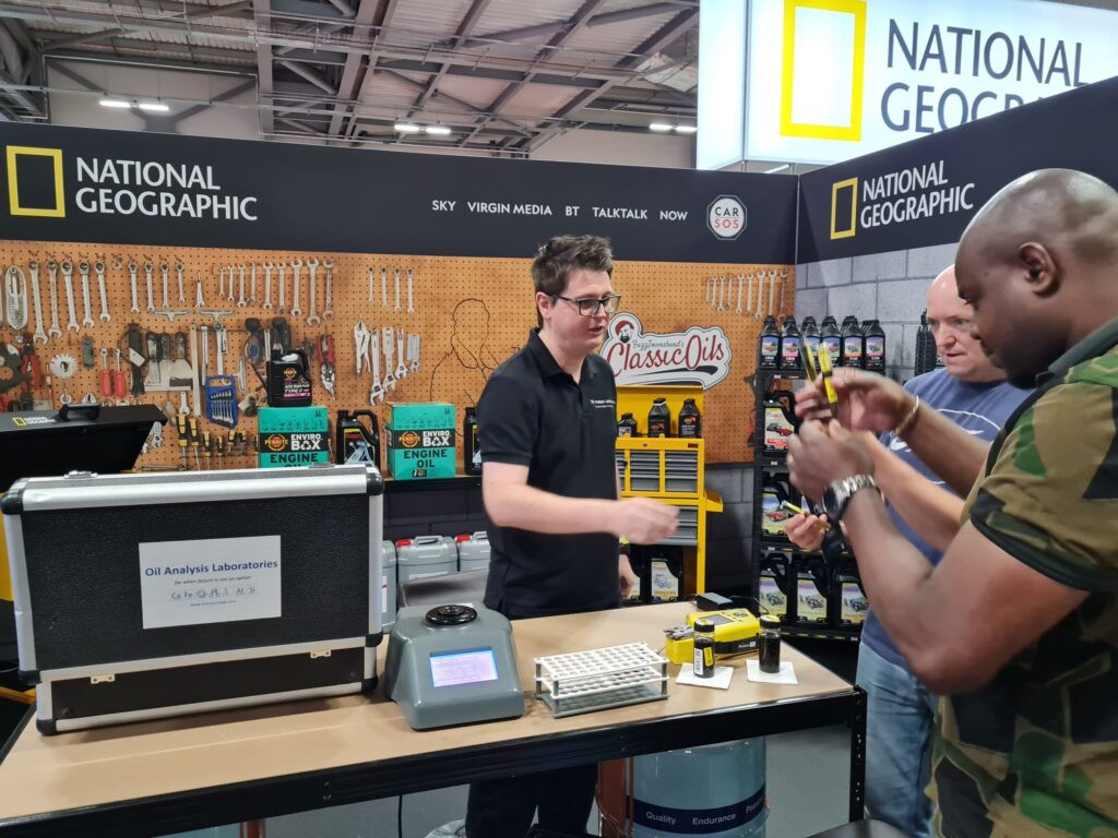 200d588d cf79 43f4 9bef 01c32f27efd2 1024x768 Oil Analysis Labs invited to help Car SOS and National Geographic at the British Motor Show with live testing demonstrations