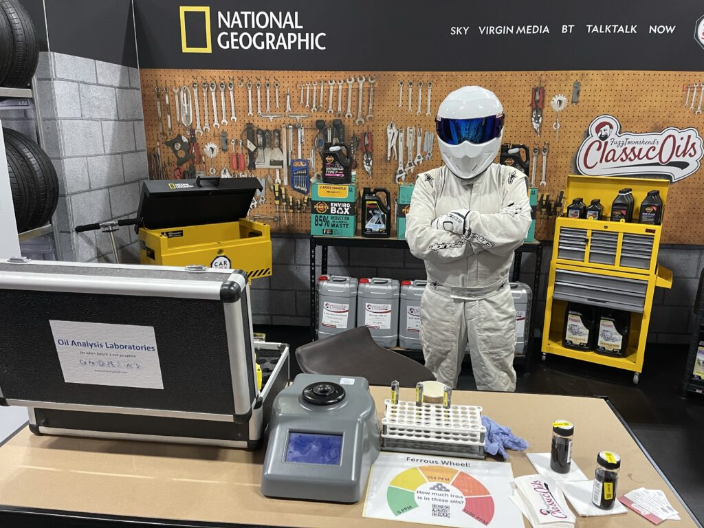 img 2428 1024x768 Oil Analysis Labs invited to help Car SOS and National Geographic at the British Motor Show with live testing demonstrations